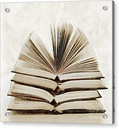 Stack Of Open Books Acrylic Print by Elena Elisseeva