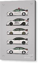 Stack Of Pearl White Subaru Alcyone Svx Acrylic Print by Monkey Crisis On Mars