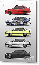 Stack Of Volvo 850r 854r T5 Turbo Saloon Sedans Acrylic Print by Monkey Crisis On Mars