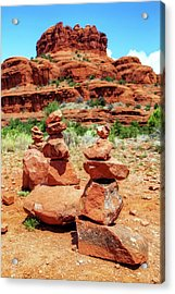 Stacked Rocks At Bell Rock In Sedona Acrylic Print by Susan Schmitz