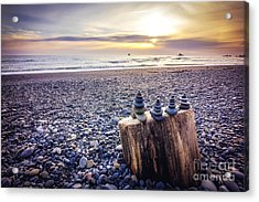 Stacked Rocks At Sunset Acrylic Print