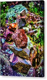 Stacked Stones Along The Trail Acrylic Print