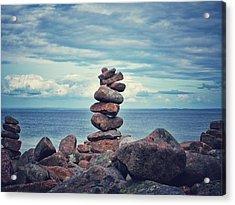 Stacked Zen Acrylic Print by Karen Stahlros