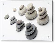 Stacks Of White And Gray Pebbles Acrylic Print