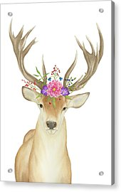 Acrylic Print featuring the painting Stag Watercolor  by Taylan Apukovska