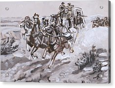 Stagecoach Attacked Historical Vignette Acrylic Print by Dawn Senior-Trask