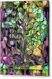 Stained Glass Apple Tree Acrylic Print by Mindy Sommers
