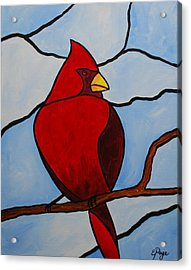 Stained Glass Cardinal Acrylic Print