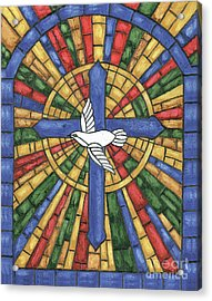 Stained Glass Cross Acrylic Print by Debbie DeWitt
