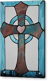 Stained Glass Cross Acrylic Print by Ralph Hecht