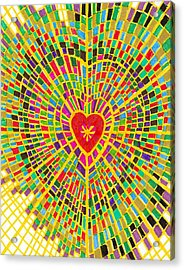 Stained Glass Heart Acrylic Print by Brenda Adams