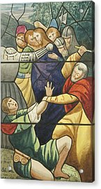 Stained Glass In St Mark's  The Taking Of Christ  Acrylic Print by Joseph Manning
