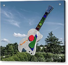 Stained Glass Neck Guitar Sculpture Acrylic Print by Photo Captures by Jeffery