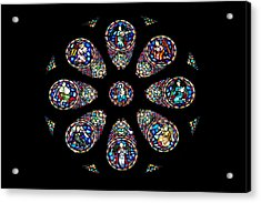 Stained Glass Rose Window In Lisbon Cathedral Acrylic Print by Artur Bogacki