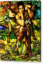 Stained-glass Window Depicting Chansons De Printemp By Bouguereau Acrylic Print