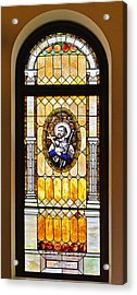Stained Glass Window Father Antonio Ubach Acrylic Print by Christine Till
