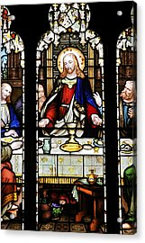 Stained Glass Window Last Supper Saint Giles Cathedral Edinburgh Scotland Acrylic Print by Christine Till