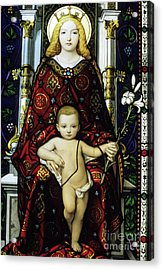 Stained Glass Window Of The Madonna And Child Acrylic Print by Sami Sarkis