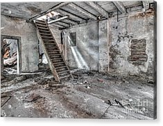 Acrylic Print featuring the photograph Stair In Old Abandoned  Building by Michal Boubin