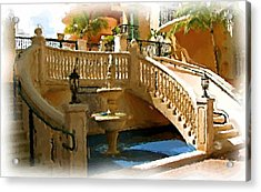 Staircase And Fountain Acrylic Print by Ralph Liebstein