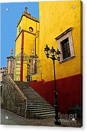 Staircase With Gate Acrylic Print by Mexicolors Art Photography