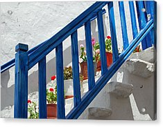 Stairs In Mykonos Acrylic Print by Armand Hebert