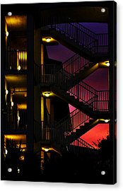 Stairway Silhouette At Sunset Acrylic Print by Rose  Hill