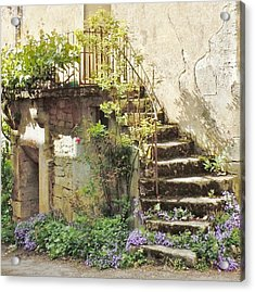 Stairway With Flowers Flavigny France Acrylic Print by Marilyn Dunlap
