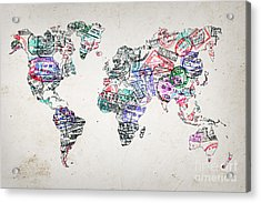 Stamp Art World Map Acrylic Print