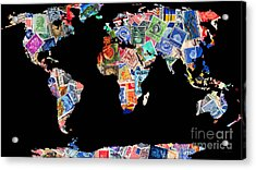 Stamps Of The World Map . V1 Acrylic Print by Wingsdomain Art and Photography