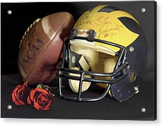 Stan Edwards's Autographed Helmet With Roses Acrylic Print