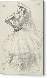 Standing Dancer, Right Arm Raised Acrylic Print by Edgar Degas