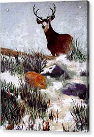 Acrylic Print featuring the painting Standing Guard by Nancy Jolley