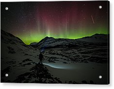 Standing In Awe Of The Auroras Acrylic Print by Craig Brown