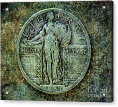 Acrylic Print featuring the digital art Standing Libery Quarter Obverse by Randy Steele