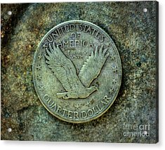 Acrylic Print featuring the digital art Standing Libery Quarter Reverse by Randy Steele