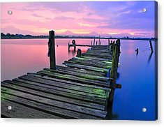 Standing On A Wooden Bridge Acrylic Print