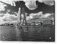 Standup Paddling At Molecule Man Acrylic Print by Ute Herzog