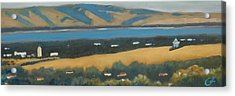 Acrylic Print featuring the painting Stanford By The Bay by Gary Coleman