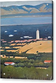 Acrylic Print featuring the painting Stanford From Hills by Gary Coleman