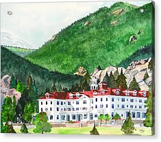 Acrylic Print featuring the painting Stanley Hotel by Tom Riggs