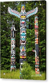 Stanley Park Totems Acrylic Print by Inge Johnsson