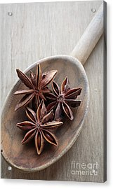 Star Anise On A Wooden Spoon Acrylic Print by Edward Fielding