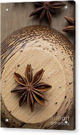 Star Anise On Wooden Bowl Acrylic Print by Edward Fielding