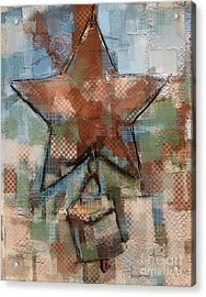 Acrylic Print featuring the mixed media Star Bell by Carrie Joy Byrnes
