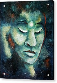 Star Buddha Of Teal Tranquility Acrylic Print by Laura Iverson