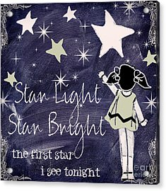 Star Light Star Bright Chalk Board Nursery Rhyme Acrylic Print by Mindy Sommers