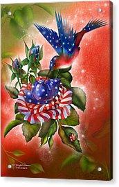 Star Spangled Hummer Acrylic Print by Carol Cavalaris