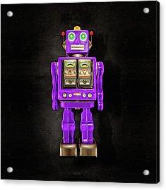 Star Strider Robot Purple On Black Acrylic Print by YoPedro