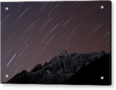 Star Trails Above Himal Chuli Created Acrylic Print by Alex Treadway